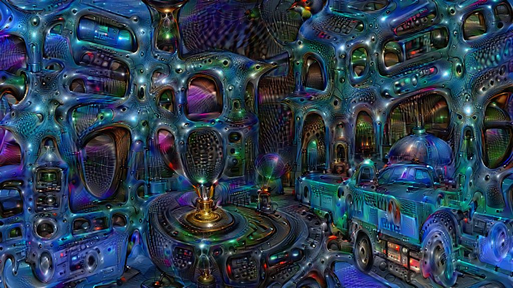 "Deep Dream ""Drowned City"", an edited Deep Dream image of one of my Tilt Brush Creations"